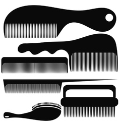 Set of Different Combs Silhouettes vector image