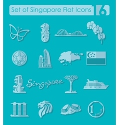 Set of Singapore icons vector image vector image