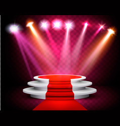 Showroom with a red carpet and spotlight on vector