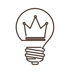 Silhouette light bulb flat icon with crown inside vector