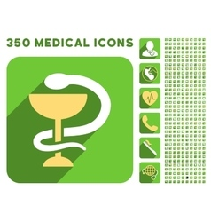 Snake Cup Icon and Medical Longshadow Icon Set vector image