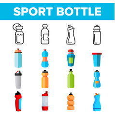 Sport bottle fitness accessory thin line vector