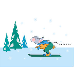 Sports banner mouse skier snowy spruce vector