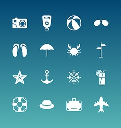 Summer Holidays Icon Set Flat Design White Icons vector