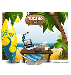 Summer scene on beach with table and tucano on vector