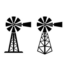 Symbols of rural windpump vector