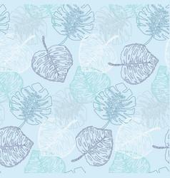 tender blue colors monstera leaves pattern vector image