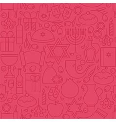Thin Happy Hanukkah Line Holiday Seamless Pink vector image