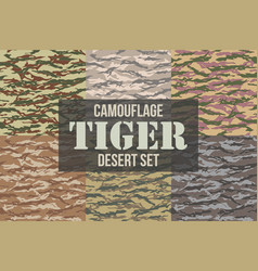 tiger stripe camouflage seamless patterns vector image