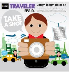 Traveler holding a camera EPS1 vector