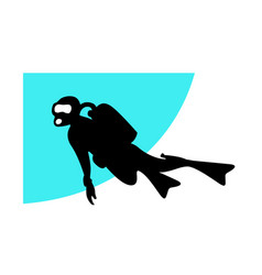 Underwater diving silhouette a swimming diver vector