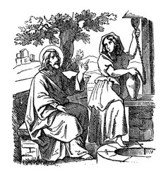 Vintage drawing biblical story jesus talks vector