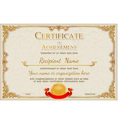 vintage retro frame certificate background design vector image