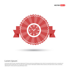 wall clock icon - red ribbon banner vector image