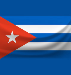 Waving national flag of cuba vector