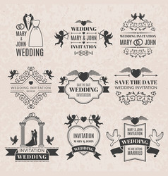 Wedding labels set in victorian style monochrome vector