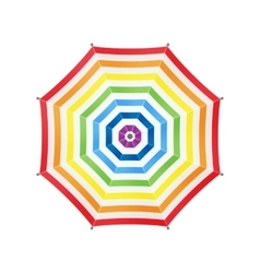White Umbrella With Rainbow Stripes Top View vector