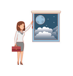 Window with view night and businesswoman vector