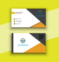 Yellow and white modern business card vector
