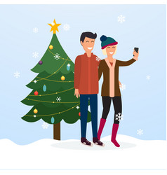 young couple taking a selfie on the background of vector image