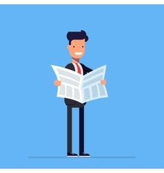 Businessman or manager reading a newspaper daily vector