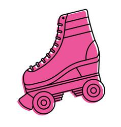 Classic roller skate laced wheels retro fashion vector