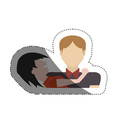 couple together relation shadow vector image