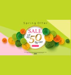horizontal spring sale banner design vector image vector image