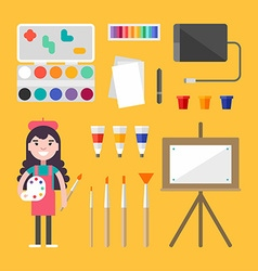 Painting Tools and Appliances Female Cartoon vector image