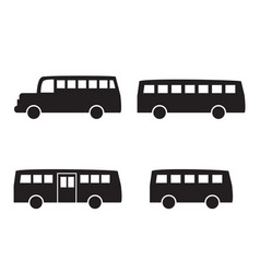 set of big bus icons in simple silhouette style vector image vector image
