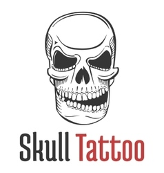 Smirking and scary human skull tattoo with grin vector