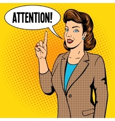 Woman point finger gesture pop art vector image