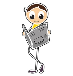 A boy reading newspaper vector image