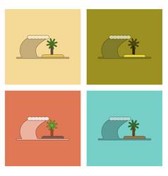 Assembly flat icons tsunami island vector