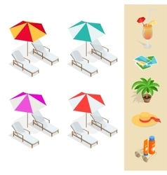 Beach icon set Orange juice sun umbrella palm vector image vector image