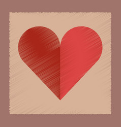 Flat shading style icon hearts suit vector