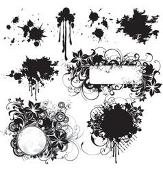 floral grunge frame elements vector image vector image