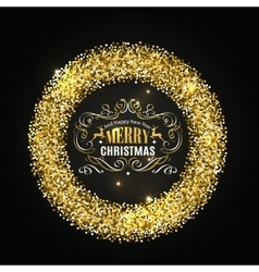 Gold glitter christmas frame with calligraphy vector image vector image