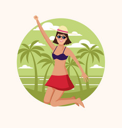 Happy woman at beach vector