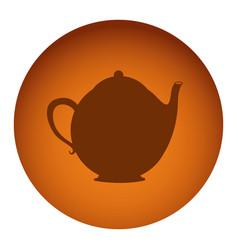orange emblem teapot icon vector image