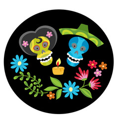 poster with colorful skulls with candle and flower vector image vector image