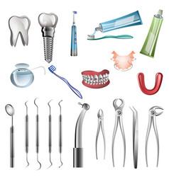realistic dentist tools vector image
