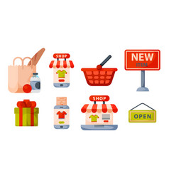 supermarket grocery shopping retro cartoon icons vector image vector image