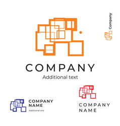 abstract construction logo with lines and vector image