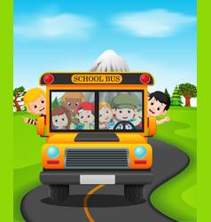 children of a school bus vector image