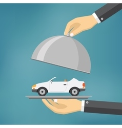 Hand with silver tray with a car on it vector image vector image