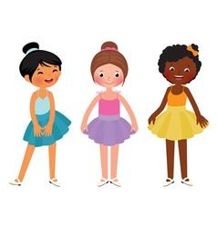 Little girls different ethnic dancer vector image vector image