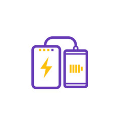 power bank charging smartphone icon vector image vector image