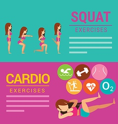 Squat and cardio exercises banner vector