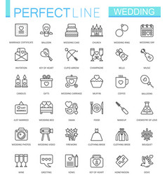 wedding thin line web icons set outline icon vector image vector image